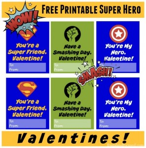 Free Printable Super Hero Valentines