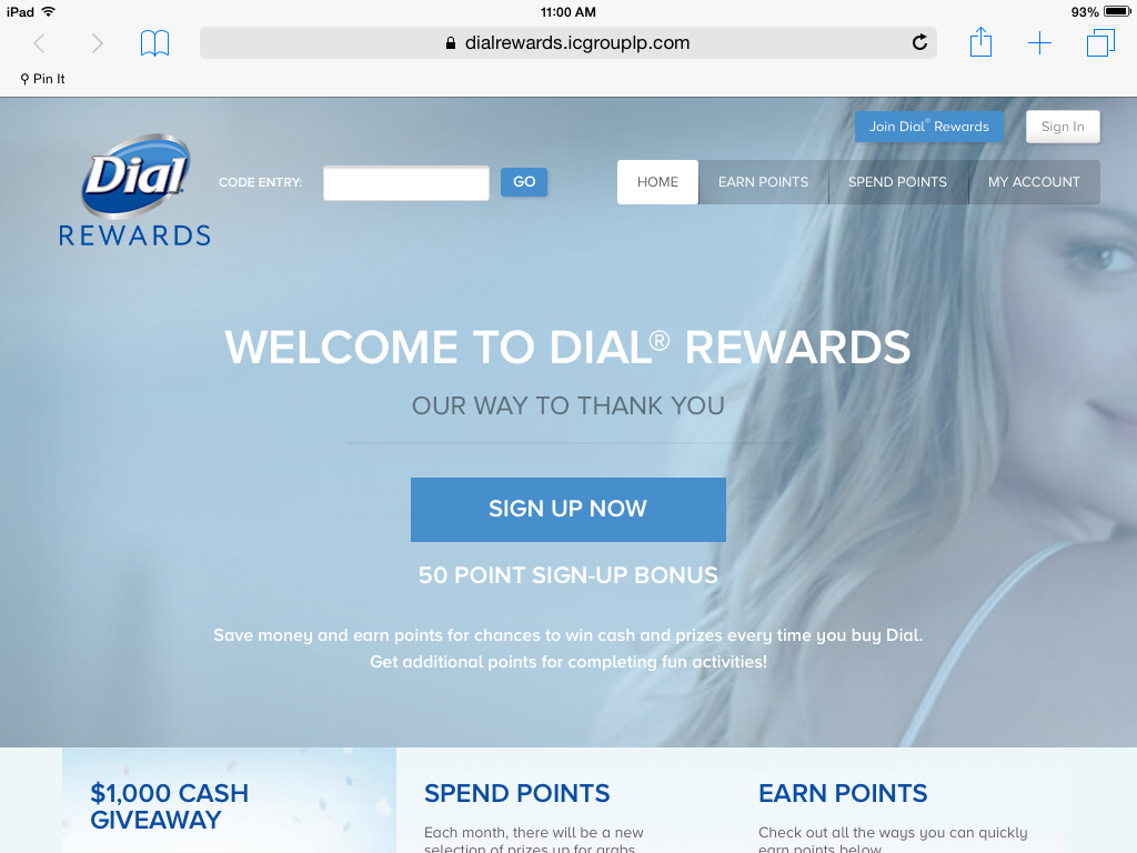 Dial Rewards screen shot