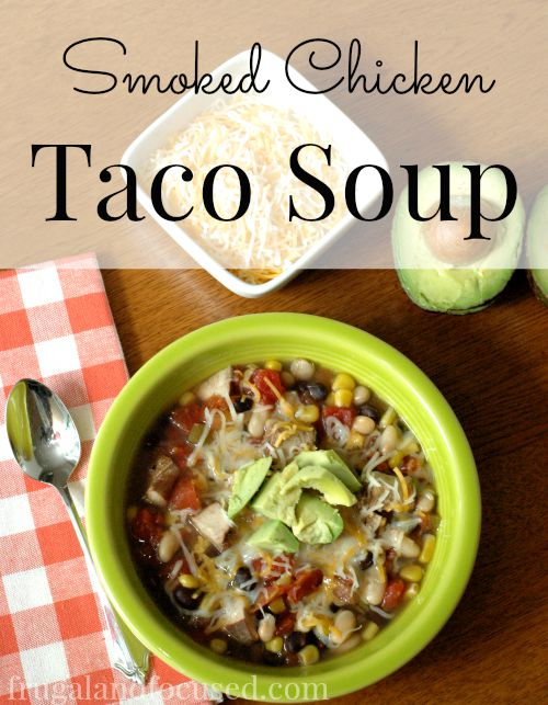 This Smoked Chicken Taco Soup is a quick and easy dinner.