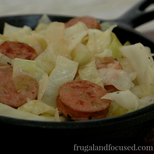 31 Days of Healthy Dinner Ideas: Chicken Apple Sausage with Cabbage